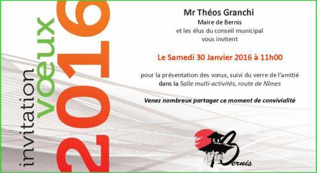 Invitation A La Ceremonie Des Voeux De Mr Le Maire Bernis Site