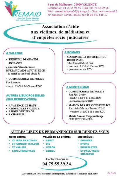 Association Remaid Aide Aux Victimes De La Drome Saint Sorlin En